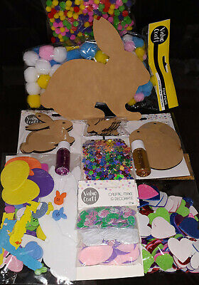 Bulk Easter Craft Pack/Kit - Wooden Rabbit Eggs & Decorations -100s and 100s pcs