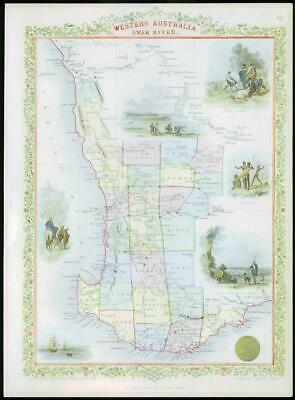 "1850 - Antique Map of ""WESTERN AUSTRALIA"" SWAN RIVER TALLIS - FULL COLOUR (22)"