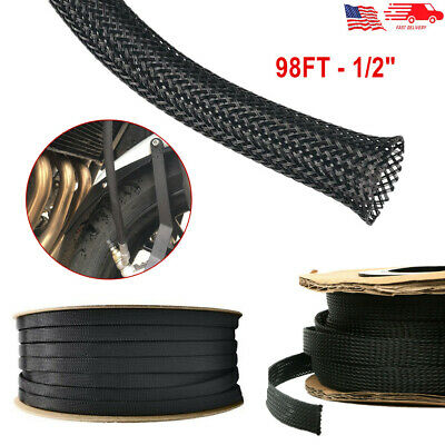 98FT Expandable Braided Cable Sleeve PET Insulated Wire Wrap Protect Loom Tubing