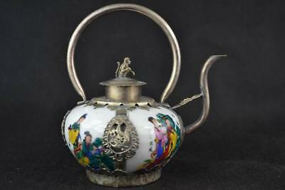 Collection handmade old Blue and White porcelain Tibet exquisite silver teapot