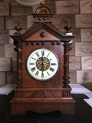 Antique Wooden Mantle Clock Converted To Battery Operated Good Working Order