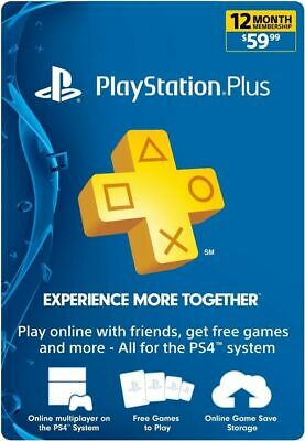 1 Year / 12 Month Sony PlayStation Plus- PSN 365 days Subscription PS4/PS3 US