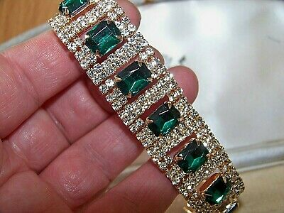 Gorgeous Jewellery Emerald & Clear Rhinestone Art Deco Gold Cocktail Bracelet