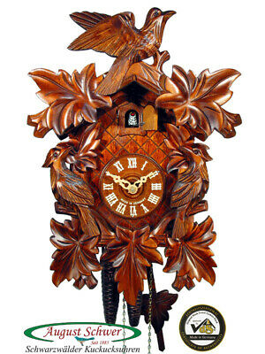 Cuckoo Clock Authentic Black Forest Seven Leaves Three Birds August Schwer New