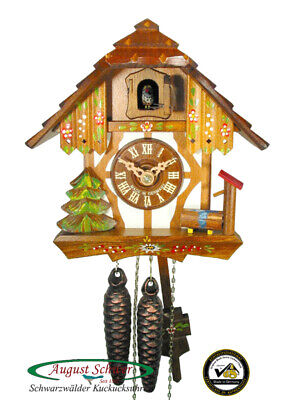 Cuckoo Clock Black Forest Timberframe House 1-Day Movement August Schwer New