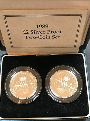 1989 Bill and Claim of Rights £2 Two Pound Silver Proof 2 Coin Set Box Coa
