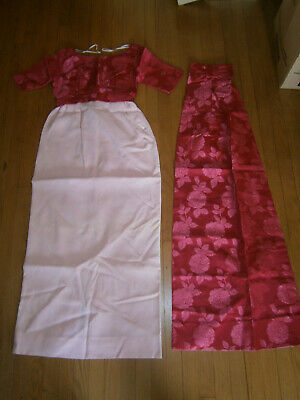 Chinese Ethnic Silk Long Dress High Waist Floral w/ Extension Women's Size Small