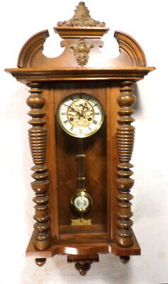 German Signed Junghans Vienna Striking Regulator Wall Clock--Circa 1890