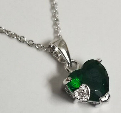 Emerald Green Heart 925 Solid Sterling Silver Necklace Luck Irish