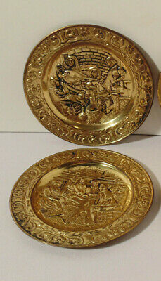 Antique Vintage Brass Wall Hanging Embossed Musicians Plate Set of 2 England