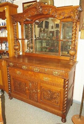 GORGEOUS Large Old Antique CARVED OAK SIDEBOARD BUFFET Mirrored OLD MAN HEAD
