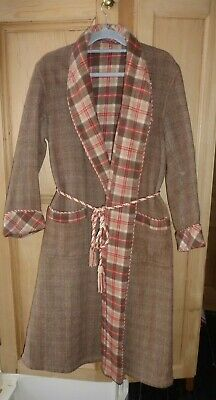 Vtg 70s 80s Mens Plaid Wool Check Dressing Gown Robe Smoking Jacket - Chest 36""