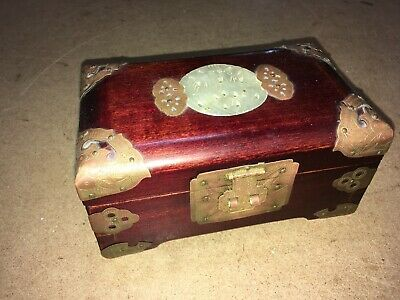 Vintage Chinese Soap Stone Carved Medallion Wooden Trinket Box