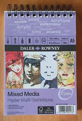 Daler Rowney. A5. Mixed Media Art Paper Pad. 30 pages. Artist quality. 250g/m2