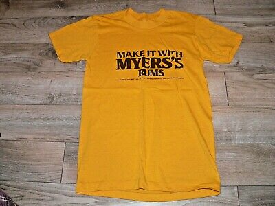"""Vintage """"Make It With Myers's Rums"""" Yellow Tee Shirt, Size Small, T-Shirt S"""