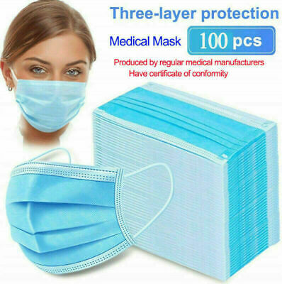 1000Pcs Anti Disposable Face Surgical Dental Dust Flu Mouth Cover 3 Ply LOT NEW