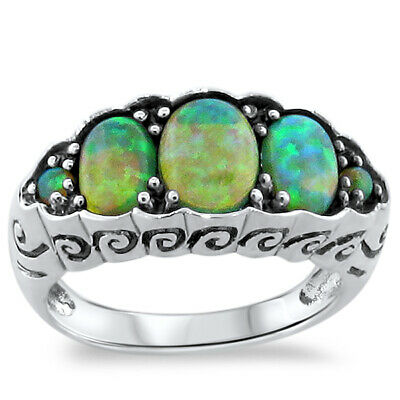 Antique Art Nouveau Style .925 Sterling Silver Green Lab Opal Ring Size 8   #233