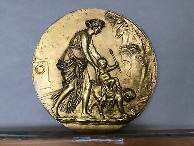 Pair Of Antique Scenes From Greek Mythology Gilded Bronze Wall Plaques Sculpture