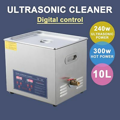 10L Ultrasonic Cleaner Jewelry Cleaning Machine Stainless Steel w/Timer New