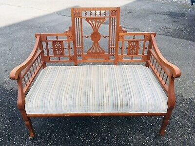 Antique Eastlake Victorian Parlor Settee Bench Sofa Carved Wood Ornate Entry Old