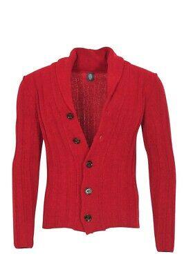 Eleventy Cardigan Men's L Red Cotton  Slim Fit Plain