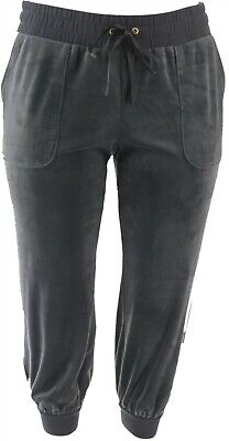 AnyBody Petite Velour Jogger Pants Graphite PL NEW A345308