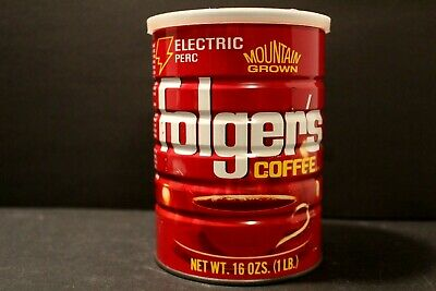 """Vintage Folgers Coffee Can With Lid 16ozs  """"Electric Perc"""" Empty"""