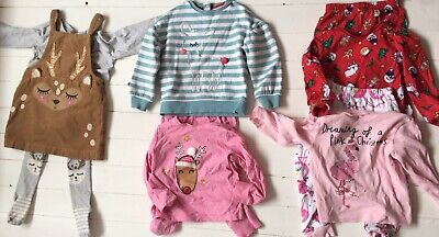 Age 2-3 Girls Christmas Bundle | Pyjamas Jumper Reindeer Pinafore
