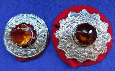 2x Large Vintage Scottish EP Silver & Amber Stone Sash Pin Thistle Brooch