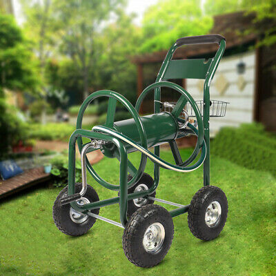 Portable Garden Hose Reel Cart Outdoor Watering Pipe Trolley Holds 300FT Hose UK