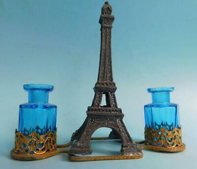 Pretty Antique French Perfume Bottle pair in Eiffel Tower Ajour Tray