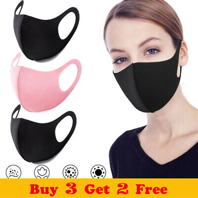 5PC Women's Men's Reusable Mouth Nose Face Cover Anti Pollution Product Solid UK