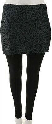 Legacy Brushed Jersey Skirted Legging Charcoal Animal M NEW A342925