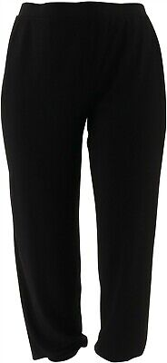 Lisa Rinna Collection Knit Cropped Jogger Pants Black L NEW A341719