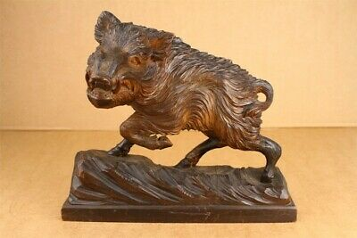 Antique Black Forest Wild Boar Hand Carved Wood Statue Mantel Piece