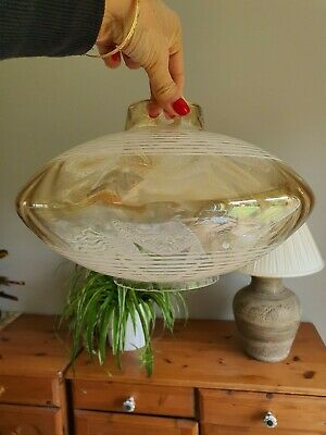 Mid Century 60s 70s Vintage Retro UFO Ceiling Light Shade Amber Iridescent Glass