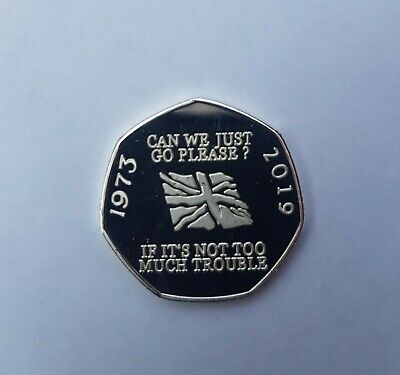 Brexit EEC 50p Pence 50p coin can we go now Silver Proof filler coin