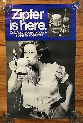 Vintage Zipfer Beer Sign Poster Pretty Lady Drinking Advertising Austria Brew
