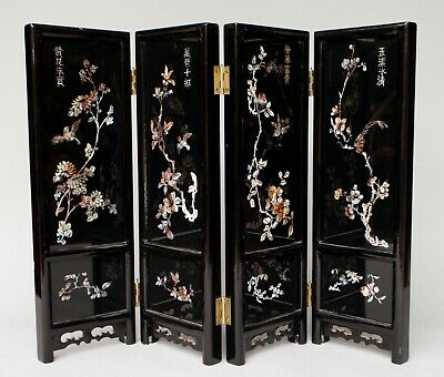 """Vintage FINE Chinese Lacquered Wood & Mother-of-Pearl Four-Panel Screen 18"""" TALL"""