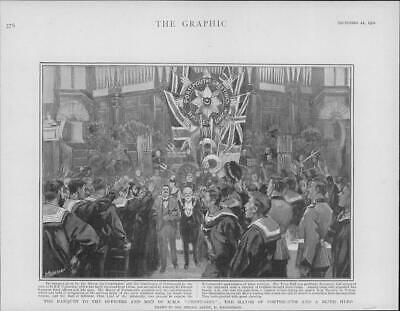 1901 Antique Print - HAMPSHIRE Portsmouth Banquet H.M.S. Centurion Mayor  (54)