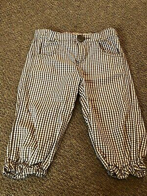 Girls H&M Brown Checked Trousers Age 5-6 Years