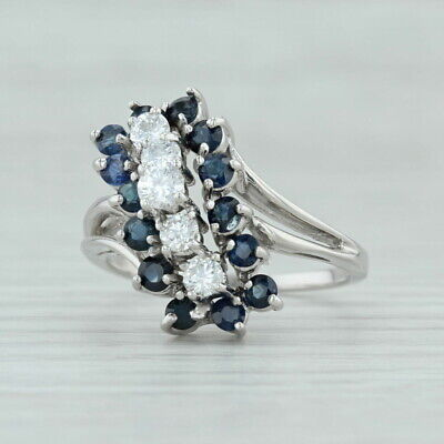 1.86ctw Sapphire & Diamond Cocktail Ring 14k White Gold Size 9