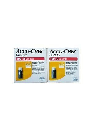 2× Accu-Chek FastClix - 100+2 Lancets (200 in total ) Sealed box Expiry 2023