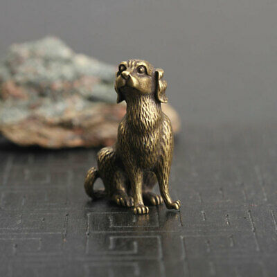Old Antique Chinese Brass Carved Dog Mini Statue Pendant Car Key Ring Home Decor