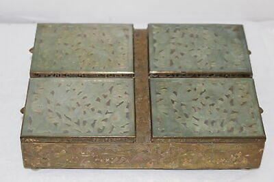 Vintage Chinese Carved Jade & Brass 4-Part Trinket/Stamp Box