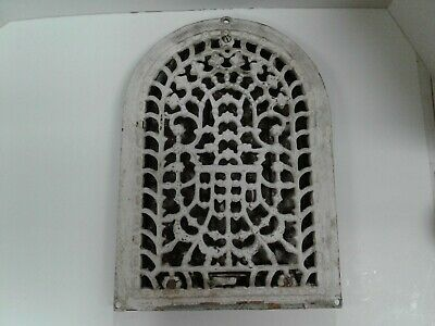 Antique Cast Iron Arched Wall Grate Vent Aug. 3 1886 10 X 14 Long  W/Louvers