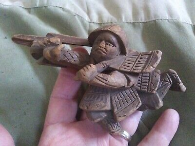 """Antique Softwood Wood Carving Asian Warrior Figurine Architectural Remnant~6"""""""