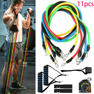 Resistance Bands Workout Exercise Yoga Crossfit Fitness Tubes Gym 11 Piece Set