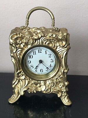 Antique Gold Victorian Carriage Mantle Clock