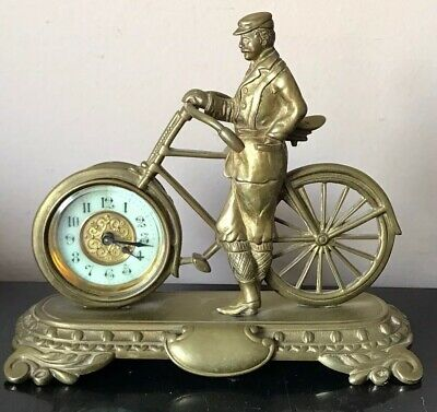 Antique British United Clock Co. Cycling Gentleman Figural Novelty Mantle Clock
